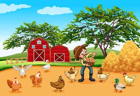 animales de granja: Granjero con pollos y huevos ilustración