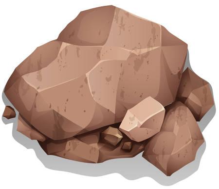 地面に茶色の重い石