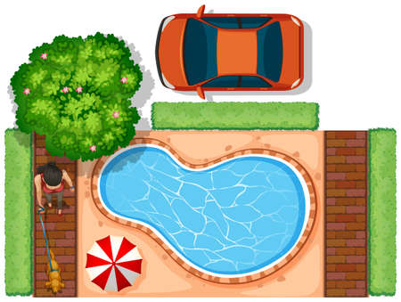 top down car: Aerial view of car and people illustration