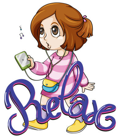 clipart speaker: Cute girl listening to music Illustration