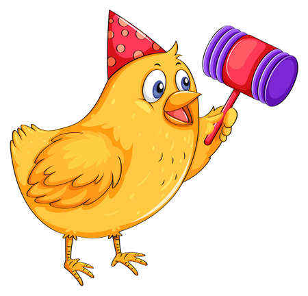 party cartoon: Little chicken playing with toy Illustration
