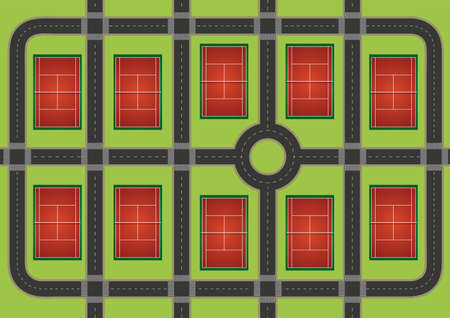 courts: Ten tennis courts in the same area Illustration