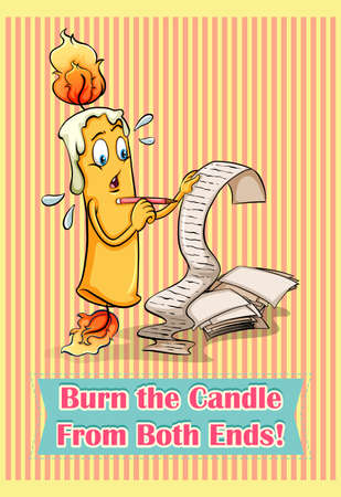 Idiom saying burn the candle from both ends Illustration
