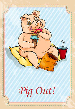pig out: English idiom saying pig out