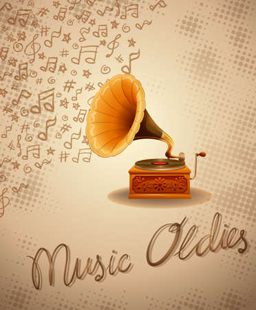 Gramophone and recorder with music notes background Illustration