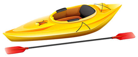 Yellow kayak with one seat and paddle