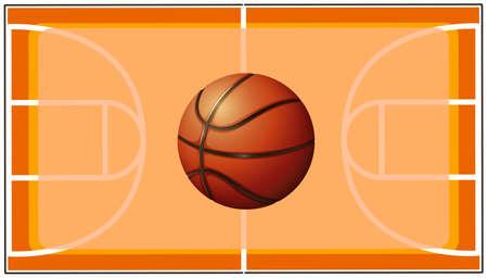 basketball court: Basketball with basketball court background Illustration