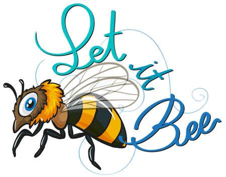 abeja: Pequeña abeja volando con los mensajes de texto