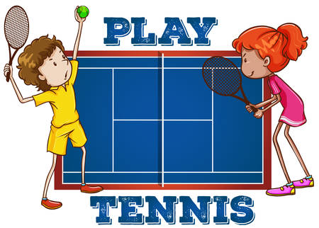 tennisball: Play tennis with text illustration