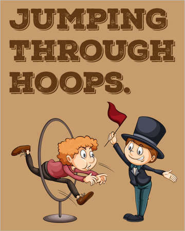 difficult situation: English idiom saying jumping through hoops Illustration