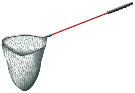 fishing net: Single fishing net on white illustration Illustration