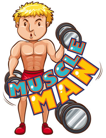 bicep curls: Muscle man with athlete illustration Illustration