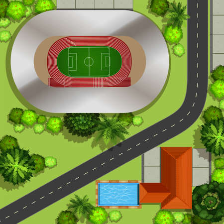 football stadium: Top view of football field in the park Illustration