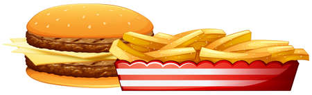 burger cartoon: Cheese burger with frenchfries as sidedish