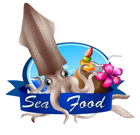 Bannière de la nourriture de la mer avec la boisson de calmar et de la plage sur fond blanc