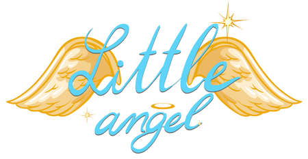 shinning: Little angel expressions with golden wings on white background