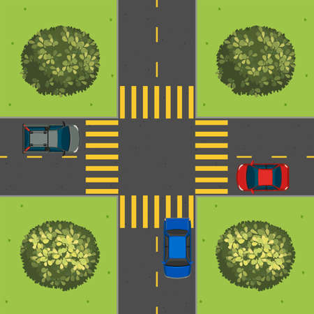 top down car: Aerial view of cars at intersection illustration Illustration
