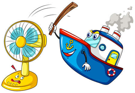 golpeando: Buque golpear una ilustraci�n del ventilador