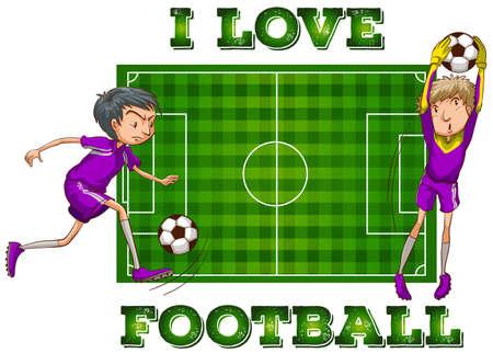 cancha de futbol: Me encanta el fútbol con los jugadores de la ilustración Vectores