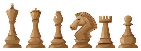 ajedrez: Piezas de ajedrez de madera con el rey y la reina Vectores