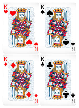 king of hearts: Poker cards of king set
