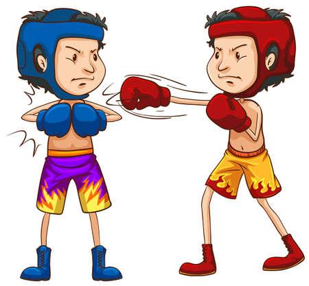 boxeador: Dos boxeadores en cascos protectores y guantes