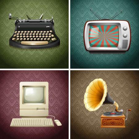 m�quina de escribir vieja: Objetos de la vendimia electr�nica y manual