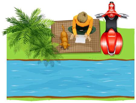 cenital: Vista aérea del hombre en la ilustración río Vectores
