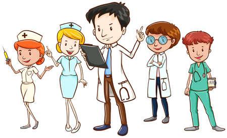 enfermera caricatura: Equipo de m�dicos y enfermeras de pie en el fondo blanco