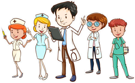 doctor clipart: Team of doctors and nurses standing on white background
