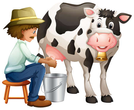 Farmer milking cowing in the bucket Illustration