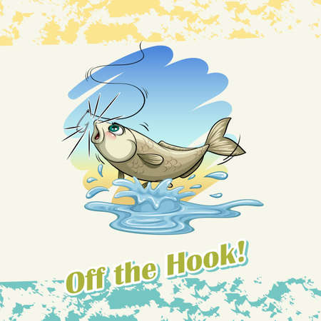 saying: English idiom saying off the hook Illustration