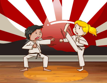 fighting: Children fighting martial arts illustration Illustration