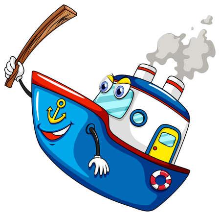 ocean liner: Blue ship holding wooden stick Illustration