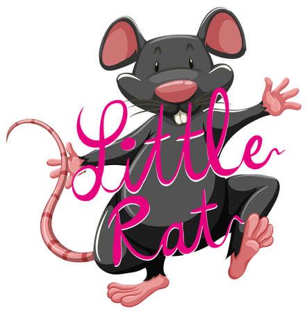 idiom: Litte rat idiom with text illustration