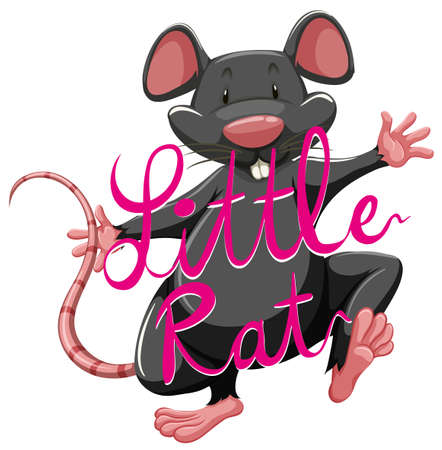 Litte rat idiom with text illustration