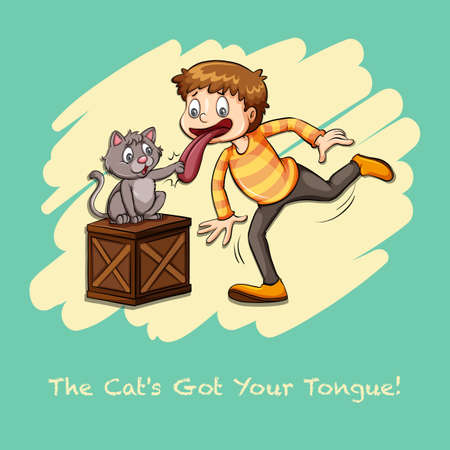 Cat got your tongue idiom illustration