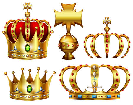 gold crown: Golden crowns with different designs Illustration