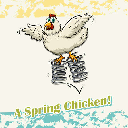bounce: Flashcard of an idiom A Spring Chicken Illustration