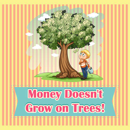 Money on trees idiom illustration