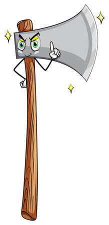 timber cutting: Axe with wooden handle with face