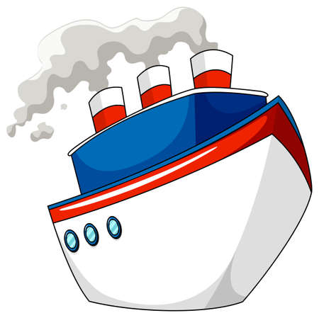 ship: Ship with steam on white illustration