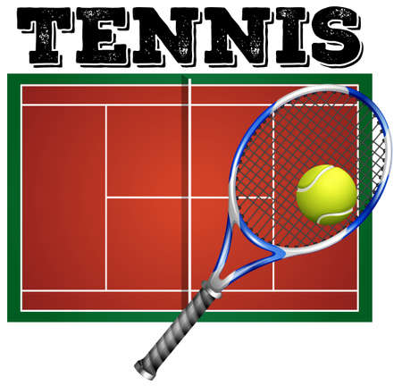 Tennis court and equipment illustration