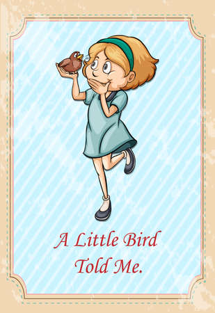 told: Little bird told me idiom illustration