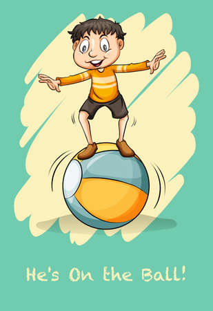 saying: Idiom saying he is on the ball Illustration