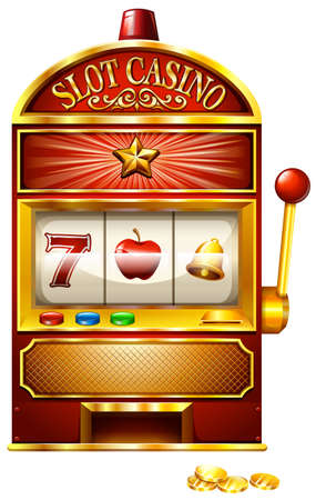 machine: Slot machine with golden coins Illustration