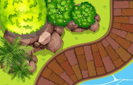 brick road: Path along a river illustration