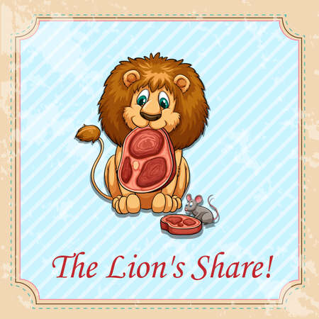 figurative: The lions share idiom illustration Illustration