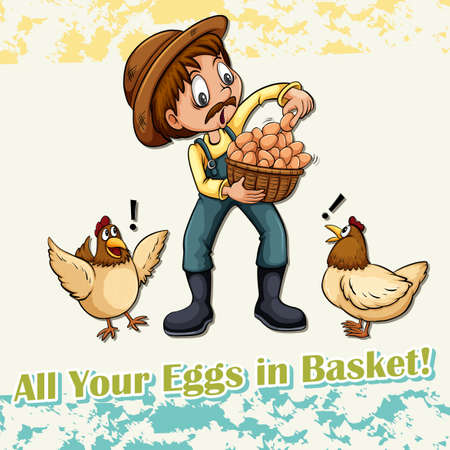 idiom: All your eggs in basket idiom illustration Illustration