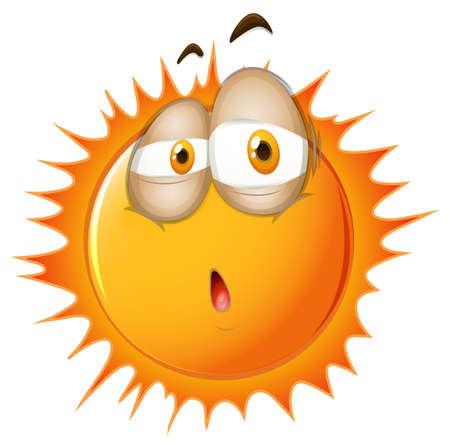 brow: Bright sun with sleepy face illustration
